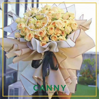 Flower Bouquet Wrapping Sheet Side Gold Water Proof 60cm x 60cm / Kertas Balut Bunga [BJ604] (20 pcs)