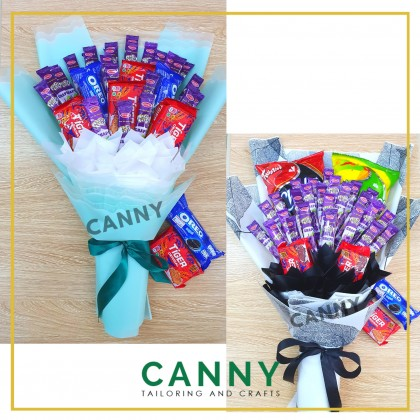PROMOSI BOUQUET BAJET / BUDGET BOUQUET WITH VARIOUS SNACKS (ADD RM1 FOR LED LIGHT)