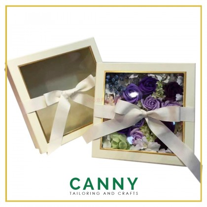 SQUARE TRANSPARENT TOP BOX WITH COVER SIZE M AND L / SURPRISE BOX / TRANSPARENT BOX (2 IN 1 SET)