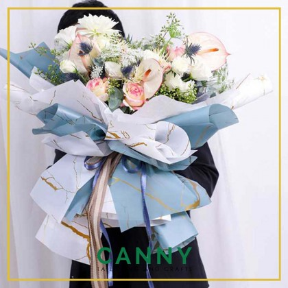 20 PCS MARBLE GOLD WATERPROOF WRAPPING SHEET / BOUQUET SHEET / FLORIST SHEET / FLORAL PAPER [CODE: WP-F003]