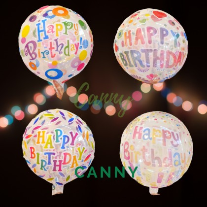 20 INCHES PRINTED BOBO TRANSPARENT BALLOON / READY TO PUMP/ NO STRETCH/ BELON BOBO PRINTED HAPPY BIRTHDAY 20 INCI (1 PCS)