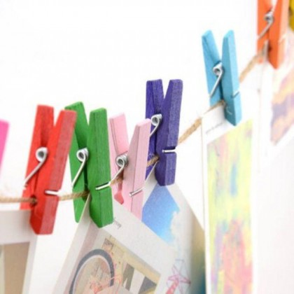 25 pcs Wooden Clip 3.5cm Wooden / Colourful , Pengepit Kayu 3.5cm Warna Kayu / Warna Warni (25 pcs)